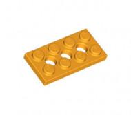 3709b-110 Technic, Plaat 2x4 met gaten Oranje, lichthelder NIEUW loc