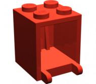 4345-5E EUROVOORDEEL: 8x Box 2x2x2 opening voorkant open noppen rood NIEUW loc