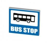 15210pb020-1 Verkeersbord- vierkant, met bus en BUS STOP Wit NIEUW loc