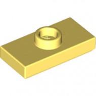 15573-103 Platte plaat 1x2 met 1 nop (loc 01-5) geel, lichthelder NIEUW loc
