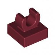 15712-59 Tegel 1x1 met clip bovenop afgeronde hoeken rood, donker NIEUW *1L288/4