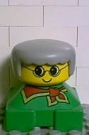 2327pb11 Duplo 2 x 2 x 2 Figure Brick, Grandmother, Green Base, Gray Hair, Yellow Face loc