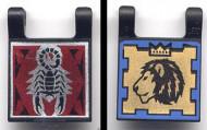 2335pb006-11 Vlag 2x2 Schorpioen éne kant, leeuw andere Zwart NIEUW loc