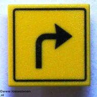 30258pb005-3G Verkeersbord- Vierkant aanwijzing bocht naar rechts CLIP ON geel NIEUW *