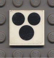 3068bp65-1G Tegel 2x2 Drie zwarte circels (kookplaat fornuis) wit gebruikt *0D008