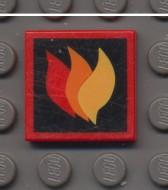 3068bpb0074-5G Tegel 2x2 brandweer logo rood gebruikt *