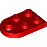 3176-5 Platte plaat 2x2 met gat voor trekhaak (oog) rood NIEUW *1B234