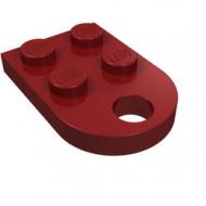 3176-59 Platte plaat 2x2 met gat voor trekhaak (oog) rood, donker NIEUW *1B234