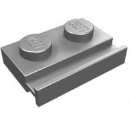 32028-95 Platte plaat 1x2 met deurrail zilver, mat NIEUW *1L290/5