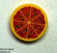 4150p02-3G Tegel 2x2 rond pizza geel gebruikt *0K000