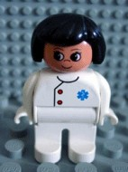 4555pb016 Duplo Figure, Female Medic, White Legs, White Top with EMT Star of Life Pattern, Black Hair *