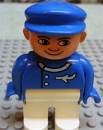 4555pb046 Duplo Figure, Male, White Legs, Blue Top (Airplane Jetliner Pilot) loc