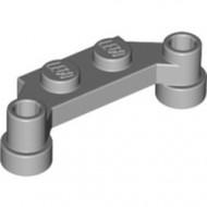 4590-86 Platte plaat 1x4 offset (plaat 2 x1+gaten links en rechts) grijs, licht (blauwachtig) NIEUW *1L240