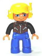 47394pb157 DUPLO Man, blauwe benen, bruin vest met rfitsluitingen, gele pet NIEUW *