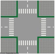 607p01-9G Wegenplaat 32x32 kruispunt ZONDER FIETPAD Grijs, licht (classic) gebruikt loc