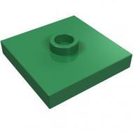87580-6 Platte plaat 2x2 1 centrale nop groen NIEUW *1L348+9