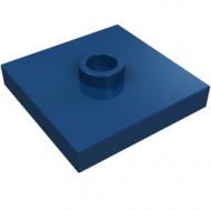 87580-63 Platte plaat 2x2 1 centrale nop blauw, donker NIEUW *1L235