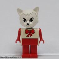 fab3hG Cat 4- Trui wit MET strik, broek rood, kop wit  gebruikt loc