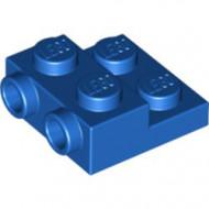 99206-7 Platte plaat 2x2x2/3 met 2 noppen zijkant blauw NIEUW *1L0325