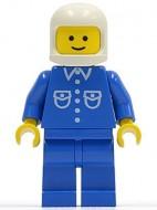 but017G Man, blauw overhemd met zakken en knopen, witte helm (klassiek), blauwe benen gebruikt loc