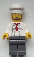 chef021G Chef -Baard en snor witte koksmuts weit pak met rode das zwarte benen gebruikt *0M0000