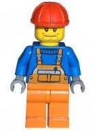 cty0011G Bouwvakker- blauw met oranje overall, rode comstructiehelm NIEUW loc