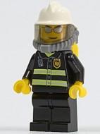 cty0018G Brandweerman- Witte brandweerhelm met zuurstofmasker, zilveren zonnebril, zwart pak met reflectiestrepen, zwarte broek, gele handen gebruikt *0M0000