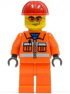 cty0132G Bouwvakker, rode veiligheidshelm, tr. Rode zonnebril, oranje overall gebruikt loc