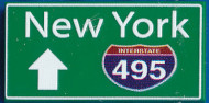 CUS1103 Routebord New York Interstate 495 (2x4) groen NIEUW *0A000