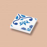 CUS3044 Tegel 2x2 Delfts Blauw - Bloem motief wit NIEUW *0A000