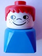 dupfig018 Duplo 2 x 2 x 2 Figure Brick Early, Male on Blue Base, Red Hair, Cheek Freckles loc