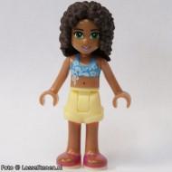 Friends- Andrea, lichtgele shorts, donkerazuur bikini-topje