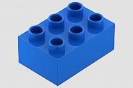HU87084-7 COMPATIBEL met DUPLO steen 2x3  (Hubelino) Blauw NIEUW loc