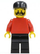 soc007G Zwarte cap, snor en baard, rood pak en zwarte benen gebruikt *0M0000