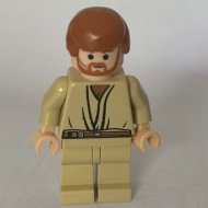 sw0162G Star Wars:Obi-Wan Kenobi, Tan benen, Light Flesh Head with Headset (set 7661) gebruikt *0M0000