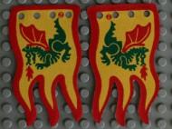x376px1a-3G Vlag 8x5 geel met rode rand en groen draak (Tweezijdig)(canvas) Geel gebruikt loc