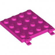 11399-47 Platte plaat 4x4 2 clips roze, donker NIEUW loc