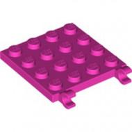 11399-47 Platte plaat 4x4 2 clips roze, donker NIEUW *