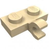 11476-2 Platte plaat 1x2 met horizontale clip LANGE einde crème NIEUW *1L0000