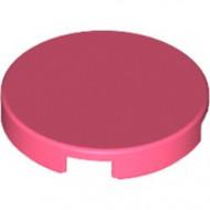 14769-220 Tegel 2x2 rond met nopgat achterkant rood, koraal NIEUW *1L142