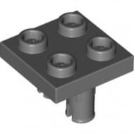 15092-85 Platte plaat 2x2 met TWEE pinnen aan onderzijde grijs, donker (blauwachtig) NIEUW *1L0000