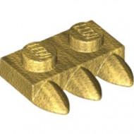 15208-115 Platte plaat 1x2 met drie tanden goud, parel NIEUW *1L0000