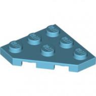 2450-156 Platte plaat 3x3 afgekapte hoek blauw, middenazuur NIEUW *