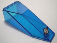 2507pb08-14G Cockpit glas 10x4x2 1/3 met Alpha Teram logo (wereldbol) transparant donkerblauw gebruikt *3L0000