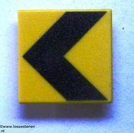 30258pb001-3G Verkeersbord- Dikke waarschuwingspijl naar links CLIP ON geel gebruikt *