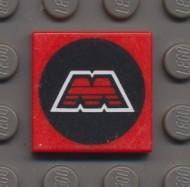 3068p68-5G Tegel 2x2 MTRON logo rood gebruikt *