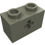 32064-10G Technic, steen 1x2 met asgat (loc 10-21) donker, grijs (klassiek) gebruikt *1L000