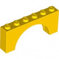 3307-3G Steen, boog 1x6x2 (niet-verhoogd zie ook 12939) geel gebruikt *