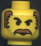3626bpb0019-3 Man, bruine snor, boze ogen en bruin haar opzij (Mr Cunningham) Geel gebruikt loc
