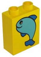 4066pb055-3 DUPLO steen 1x2x2 Vis geel gebruikt *